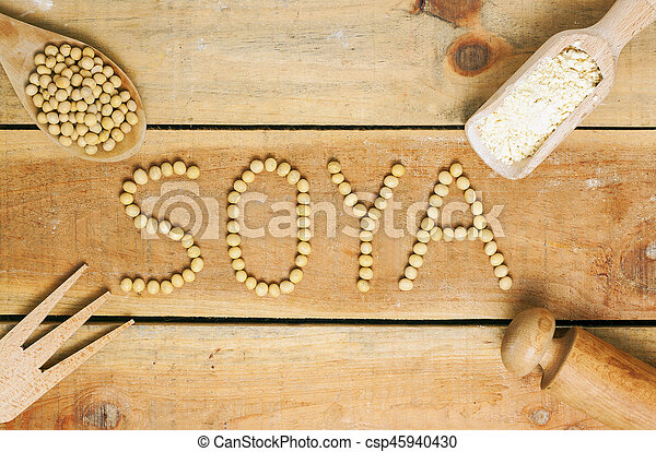 soy word with wood background - csp45940430