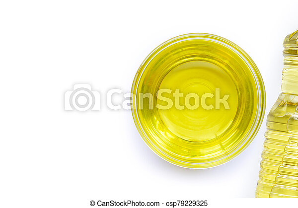 Soybean oil in a glass bowl on white backgraund. - csp79229325