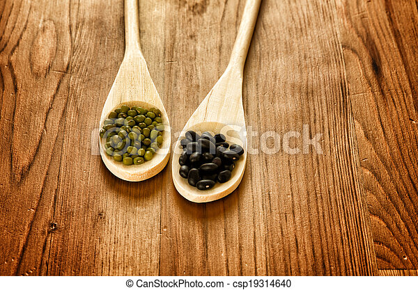 Soybeans and black beans in wooden spoons - csp19314640