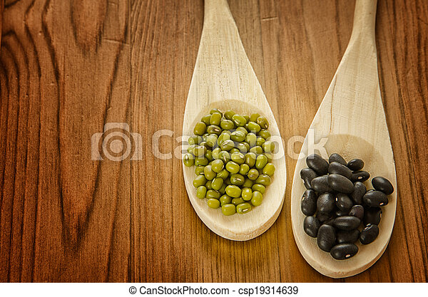 Soybeans and black beans in wooden spoons - csp19314639
