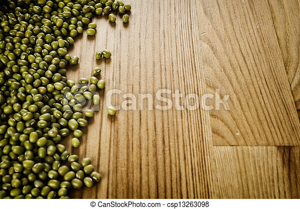 Soybeans on wooden background - csp13263098