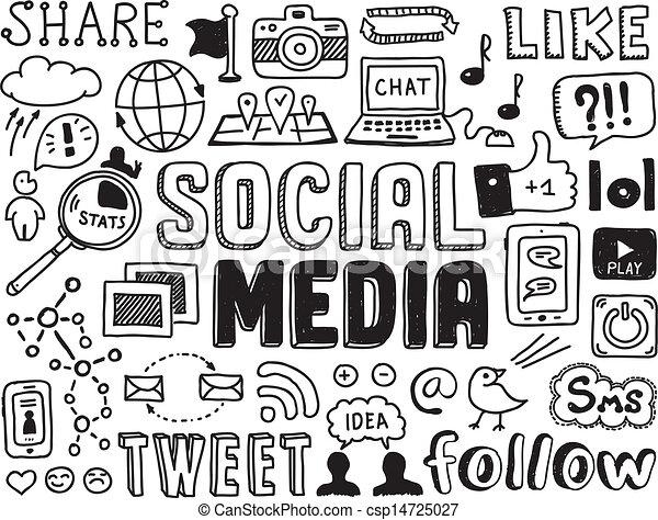 sozial, medien, elemente, doodles - csp14725027
