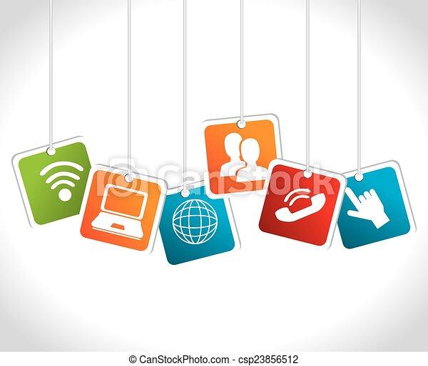 sozial, medien, vektor, illustration., design - csp23856512