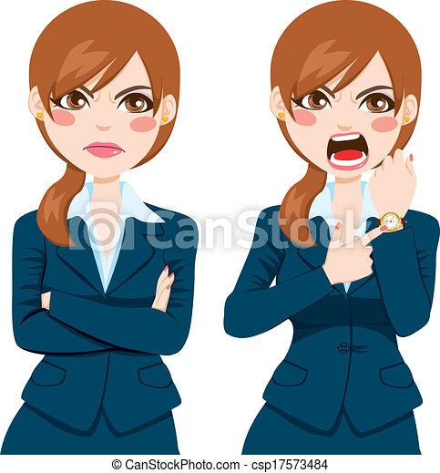 spät, geschäftsfrau, böser , begriff - csp17573484