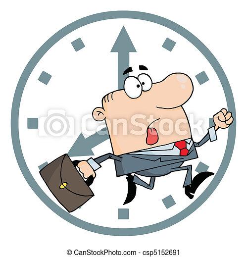 Geschäftsmann zu spät zur Arbeit - csp5152691