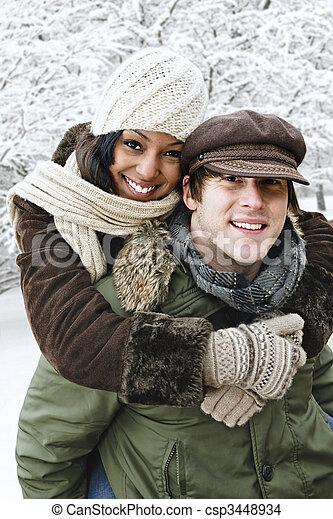 spaß, paar, haben, winter, draußen - csp3448934