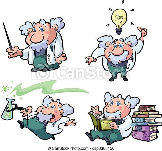 Sammeln von lustigem Wissenschaftsprofessor - csp8388156