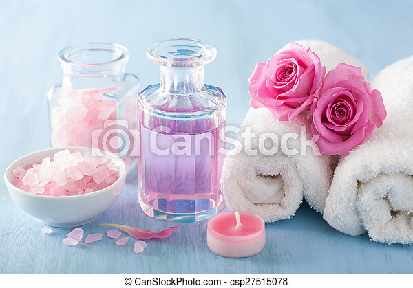 spa aromatherapy with rose flowers perfume and herbal salt - csp27515078