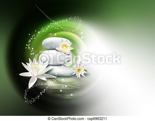 spa background bright stones and lily flowers on the water surface