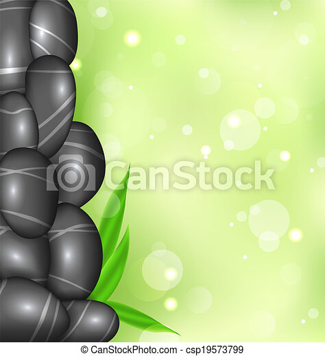 spa background with bamboo leaves and stones - csp19573799