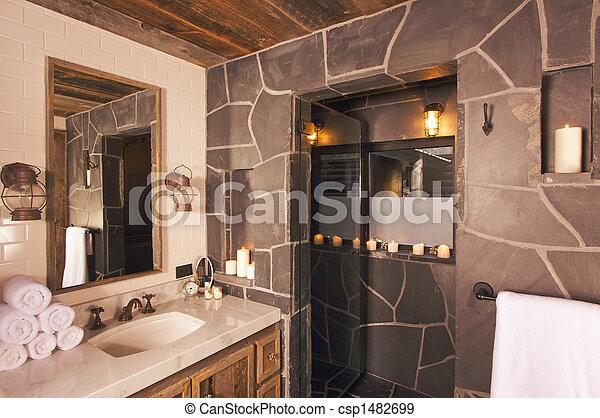 Spa, badkamer, luxe. Badkamer, mijnbouw, luxueus, rustiek ...