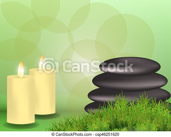 spa banner with stones candles and grass with space for text for