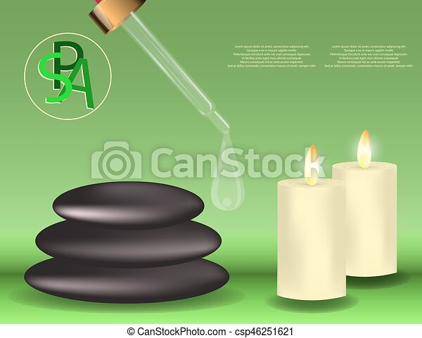 spa banner with stones candles and dropper with space for vector