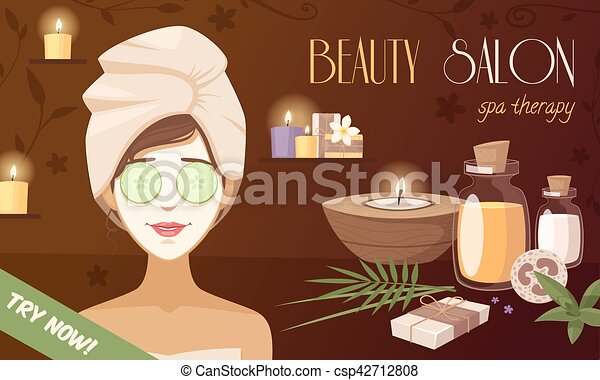 Spa Beauty Salon Cartoon Template Spa Beauty Salon Cartoon Template With Woman Mask Organic Natural Healthy Accessories