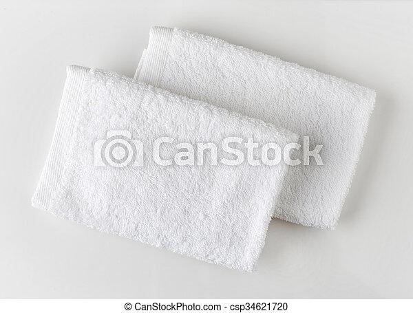 spa, branca, toalhas - csp34621720