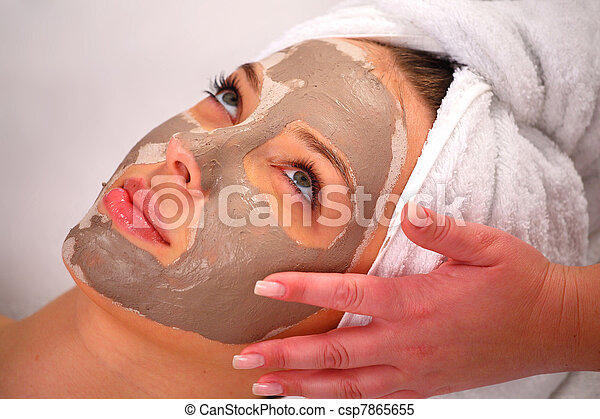 Spa clay mask on a woman's face - csp7865655