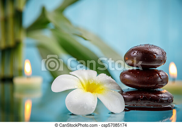 Spa Concept With Candle Stone Flower And Bamboo Relaxation