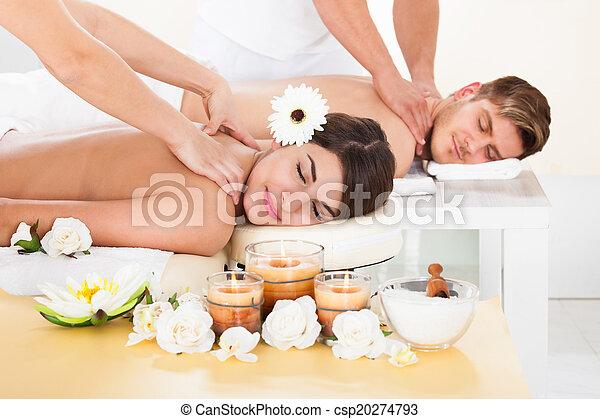 spa, couple, réception, masage - csp20274793