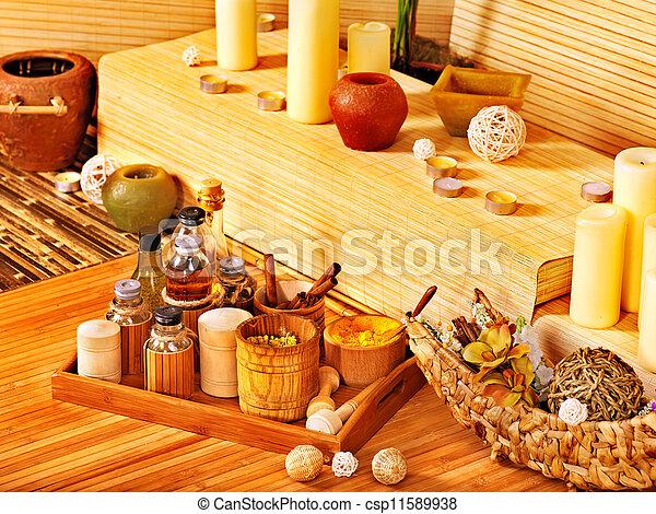 spa, décor, candle. - csp11589938