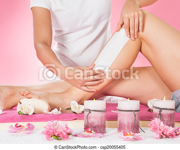 spa, einwachsen, therapeut, customer's, bein - csp20055405