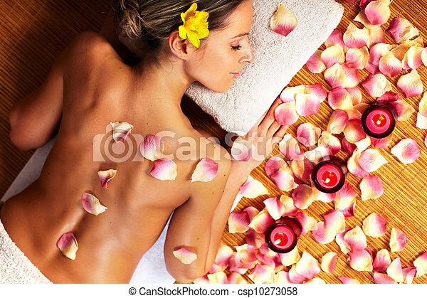 spa, femme, jeune, masage, salon. - csp10273058