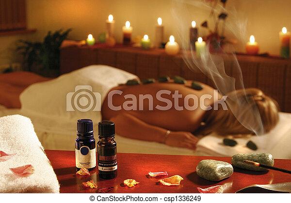 spa, femme, thérapie, romantique - csp1336249