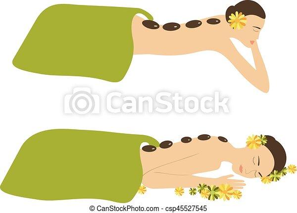 spa, femme, vecteur, masage - csp45527545