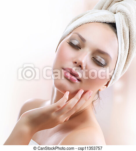 Spa Girl. Beautiful Young Woman After Bath Touching Her Face  - csp11353757