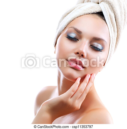 Spa Girl. Beautiful Young Woman After Bath Touching Her Face  - csp11353797