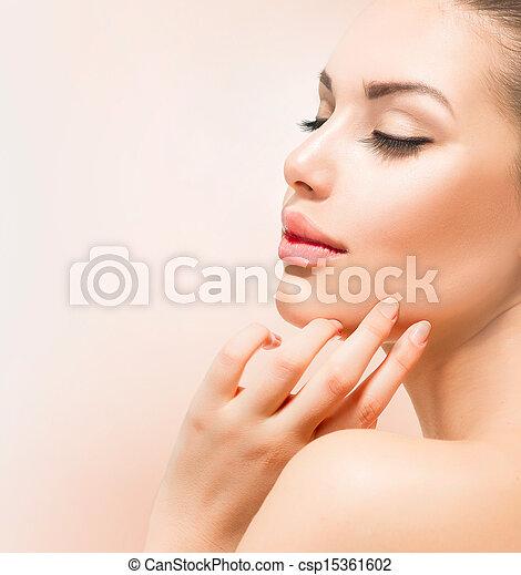 Spa Girl. Beautiful Young Woman Touching Her Face  - csp15361602