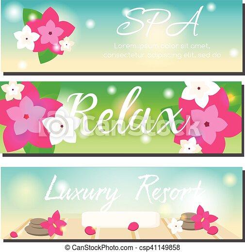 Spa Horizontal Banners Beauty Salon Luxury Hotel Resort Advertising Spa Horizontal Banners With Beach Summer Background