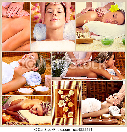 Spa massage collage background. - csp8886171
