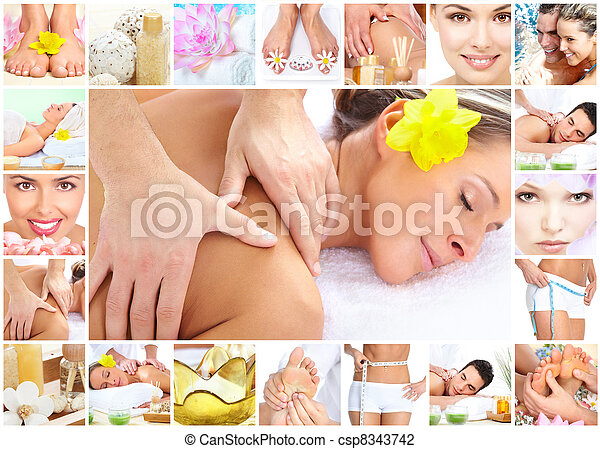 Spa massage collage background. - csp8343742