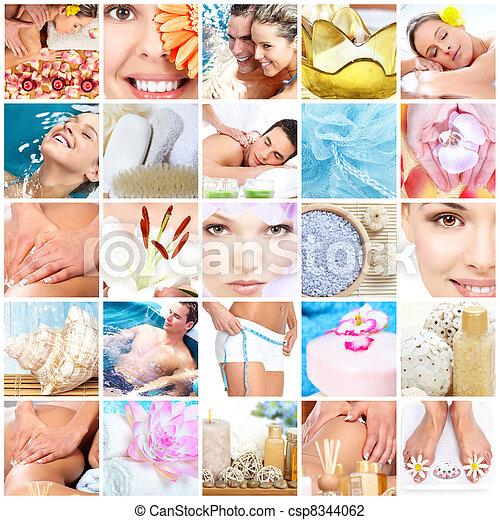 Spa massage collage background. - csp8344062