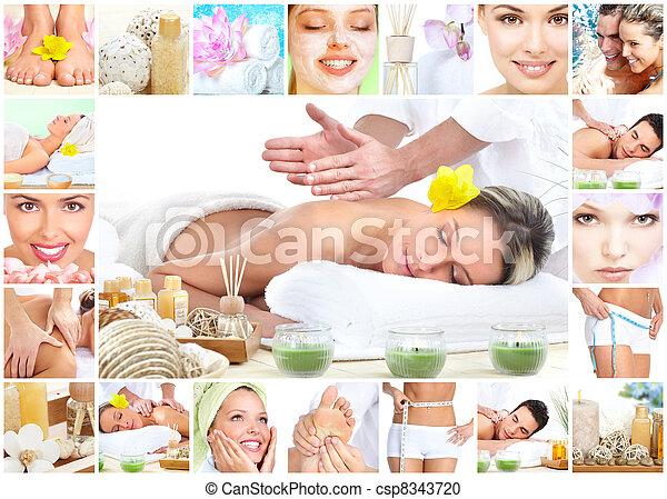 Spa massage collage background. - csp8343720