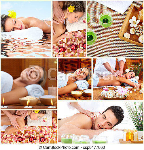 Spa massage collage background. - csp8477860