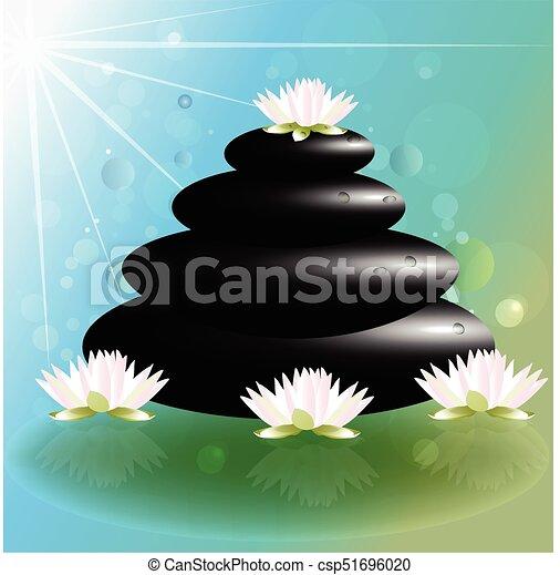 Spa Massage Lotus Flowers And Zen Stones