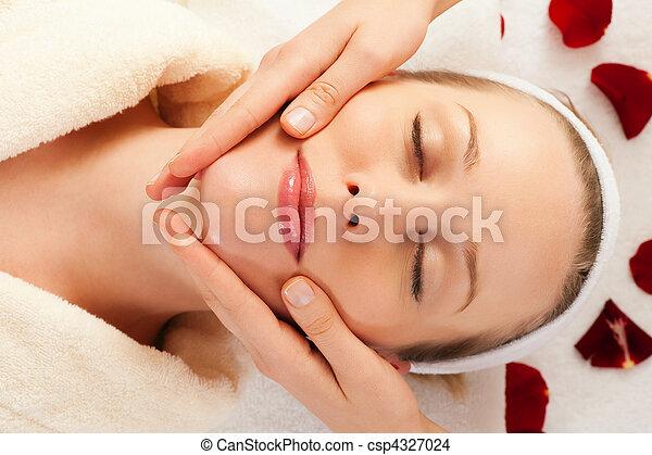 spa, massagem, rosto - csp4327024