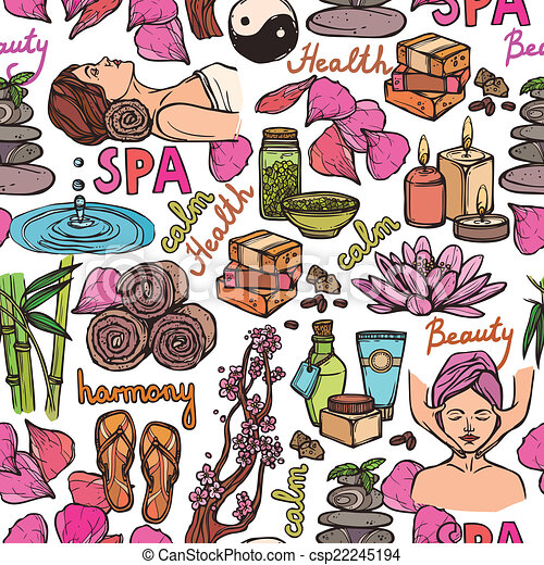 Spa sketch seamless pattern color - csp22245194