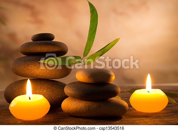Spa still life with aromatic candles - csp13543516