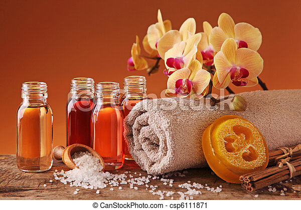 Spa still life with essential oils - csp6111871
