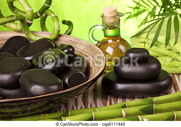 Spa still life with hot stones - csp6111443