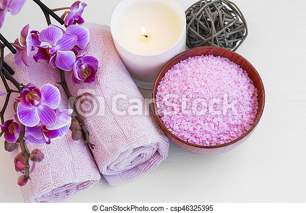 Spa still life with orchid and bath salt - csp46325395