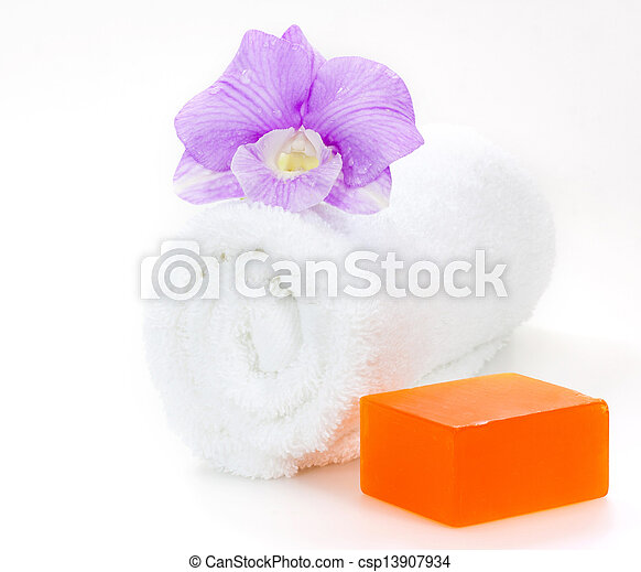 Spa still life with orchid - csp13907934