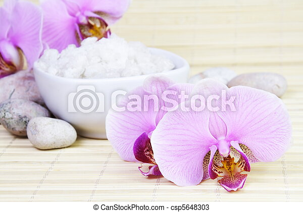Spa Still Life with Orchids and Sea Salt - csp5648303