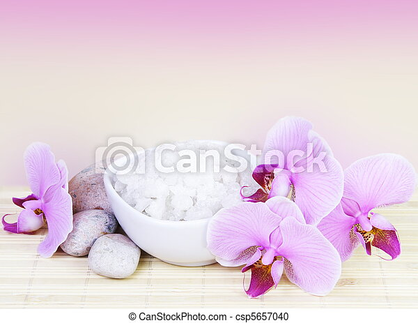 Spa Still Life with Pink Orchids Square - csp5657040