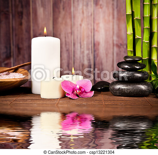 Spa still life with water reflection - csp13221304