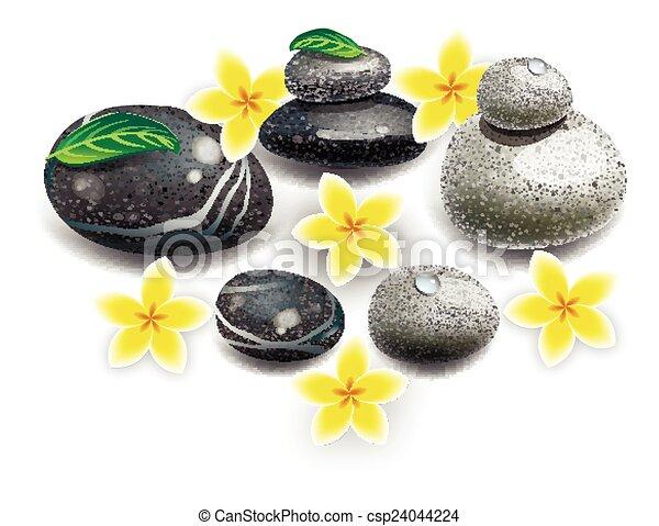 Spa stones flowers - csp24044224