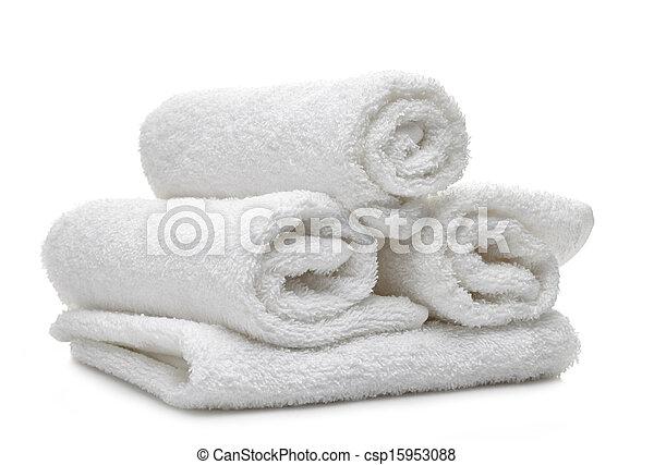 Weiße Badetücher - csp15953088