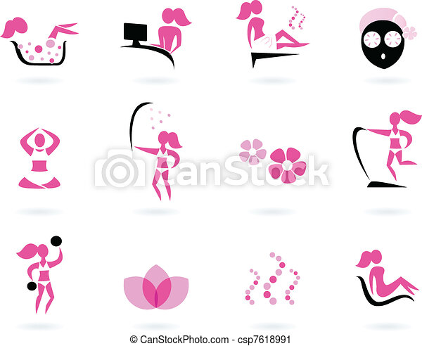 Spa, wellness & sport icons isolated on white ( pink, black )   - csp7618991